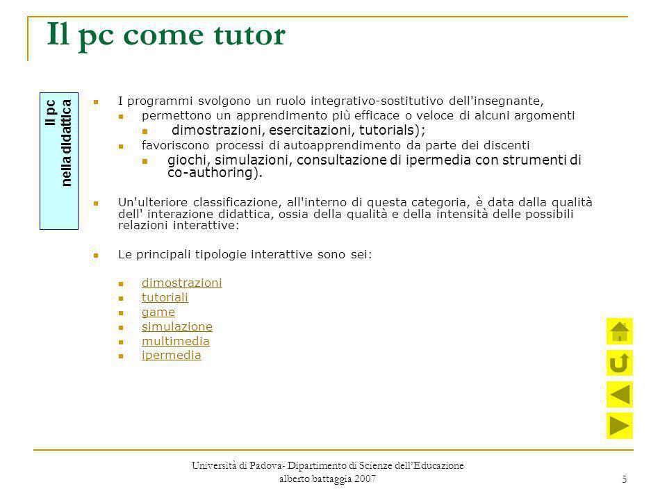 Il pc come tutor dimostrazioni, esercitazioni, tutorials);