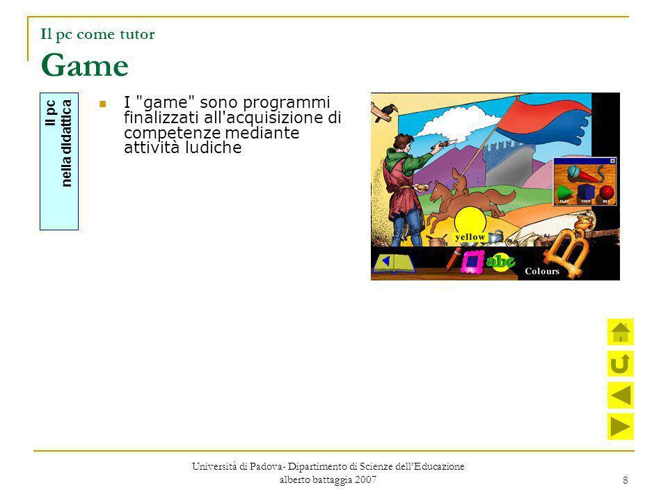 Il pc come tutor Game I game sono programmi finalizzati all acquisizione di competenze mediante attività ludiche.