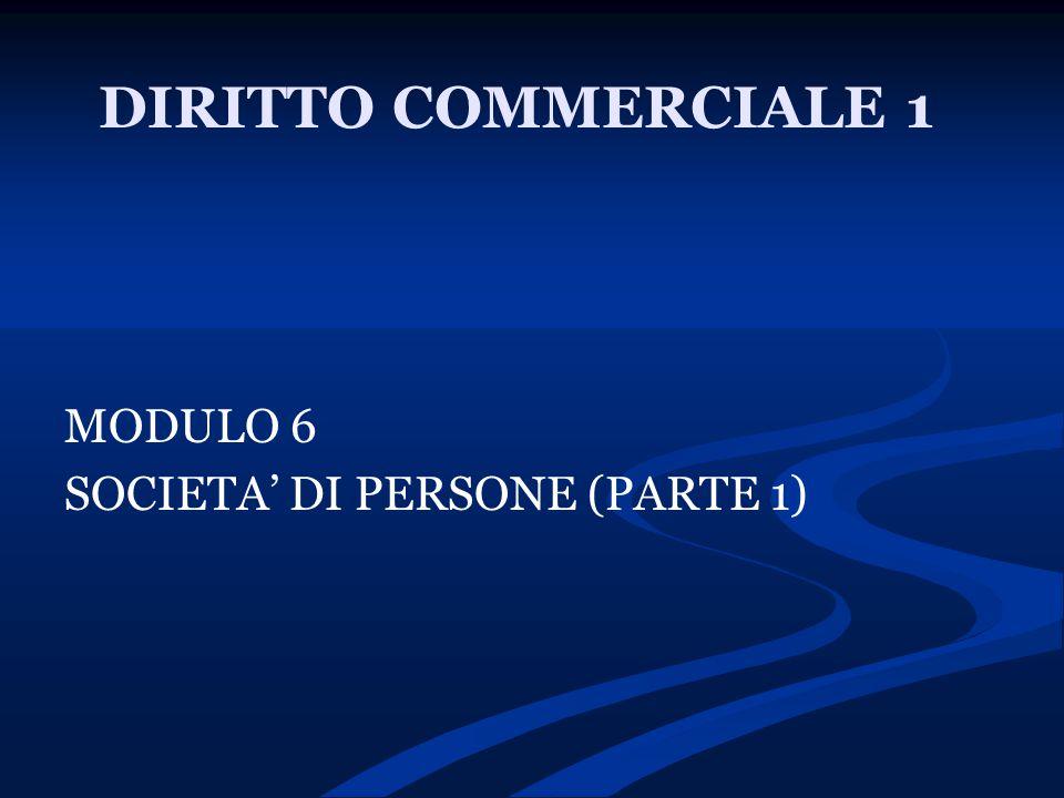 DIRITTO COMMERCIALE 1 MODULO 6 SOCIETA' DI PERSONE (PARTE 1)