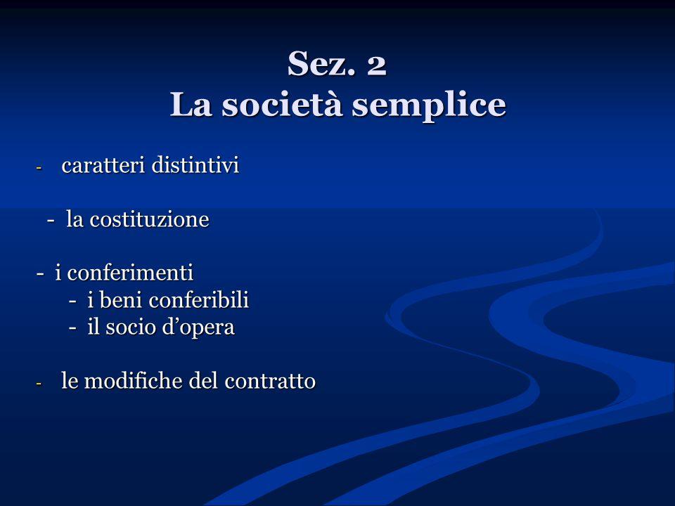 Sez. 2 La società semplice