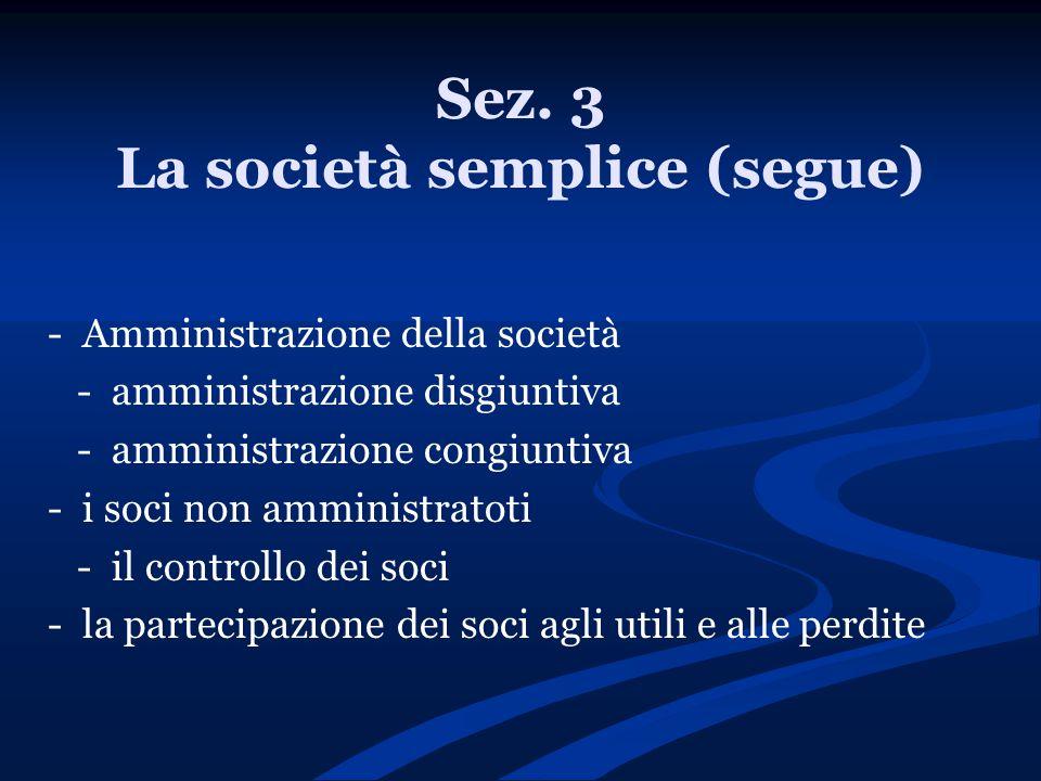 Sez. 3 La società semplice (segue)