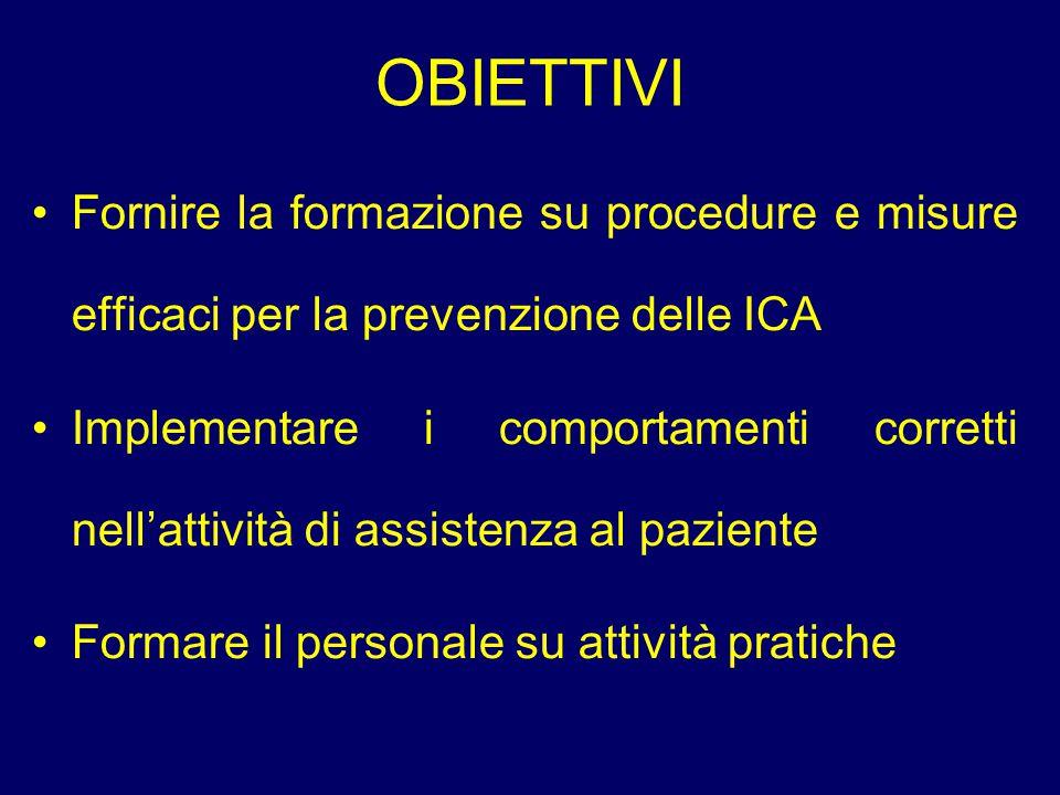 OBIETTIVI Fornire la formazione su procedure e misure efficaci per la prevenzione delle ICA.