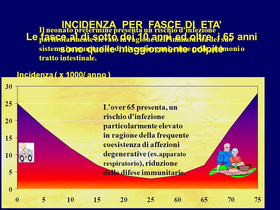 INCIDENZA PER FASCE DI ETA' Le fasce al di sotto dei 10 anni ed oltre i 65 anni sono quelle maggiormente colpite