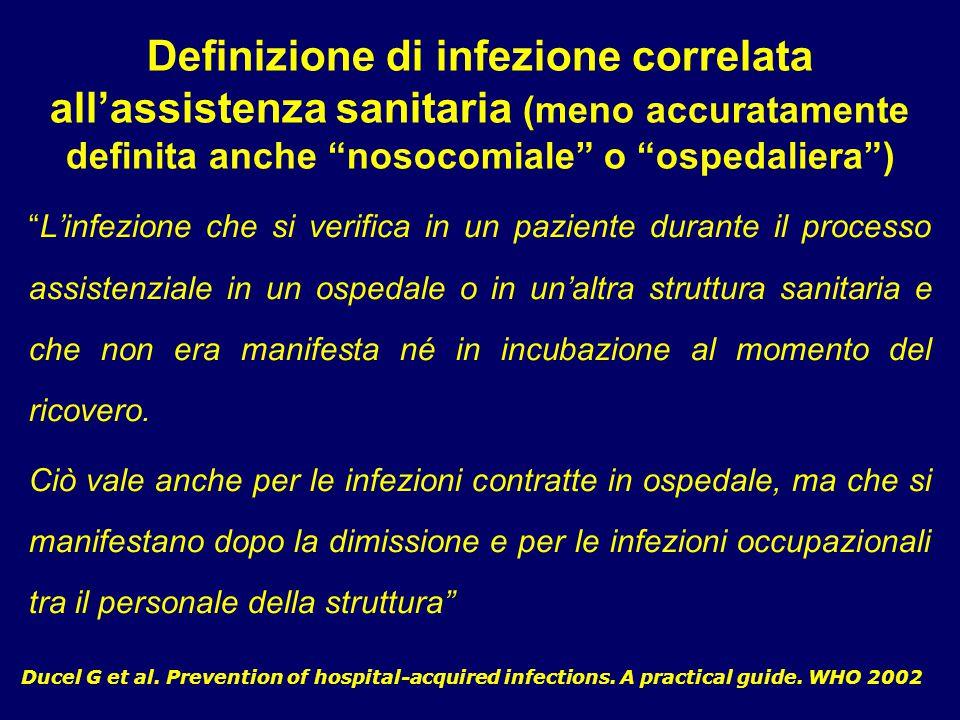 Definizione di infezione correlata all'assistenza sanitaria (meno accuratamente definita anche nosocomiale o ospedaliera )