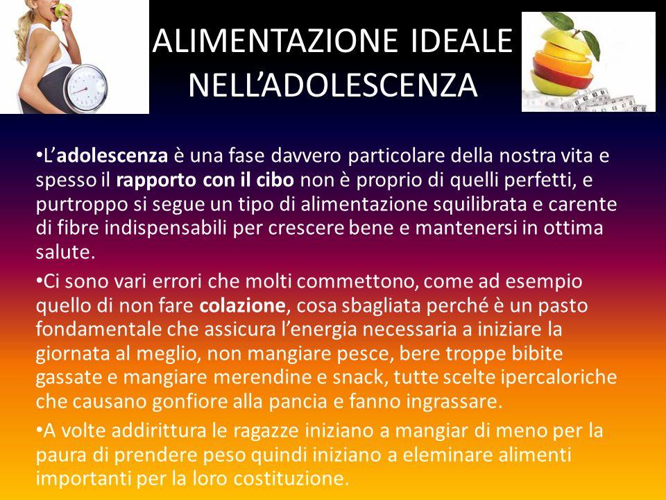 ALIMENTAZIONE IDEALE NELL'ADOLESCENZA
