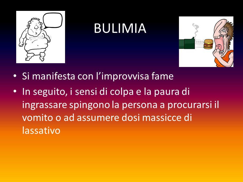BULIMIA Si manifesta con l'improvvisa fame