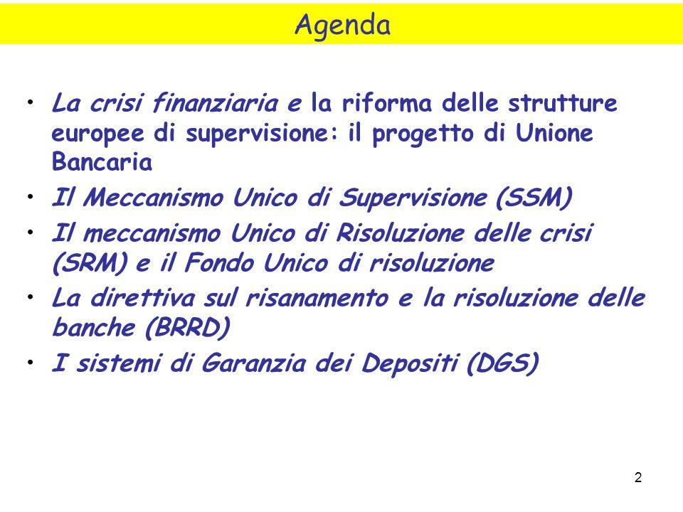 Agenda La crisi finanziaria e la riforma delle strutture europee di supervisione: il progetto di Unione Bancaria.