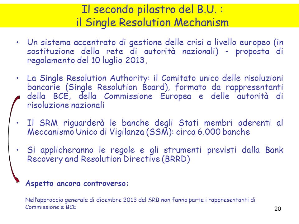 Il secondo pilastro del B.U. : il Single Resolution Mechanism