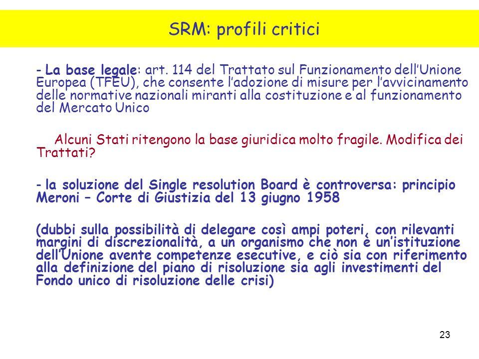 SRM: profili critici