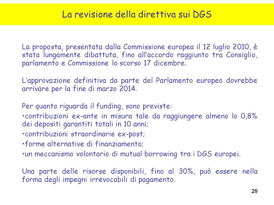 La revisione della direttiva sui DGS