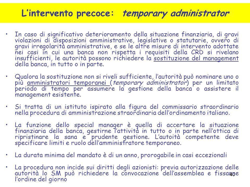 L'intervento precoce: temporary administrator