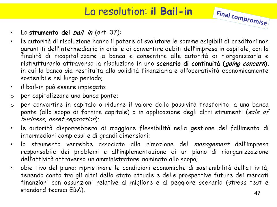 La resolution: il Bail-in