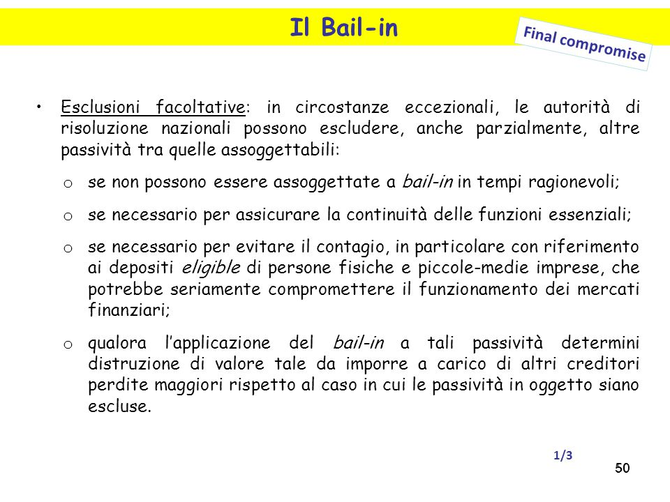 Il Bail-in Final compromise.