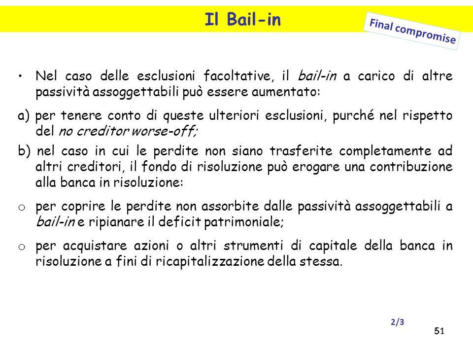 Il Bail-in Final compromise. Nel caso delle esclusioni facoltative, il bail-in a carico di altre passività assoggettabili può essere aumentato:
