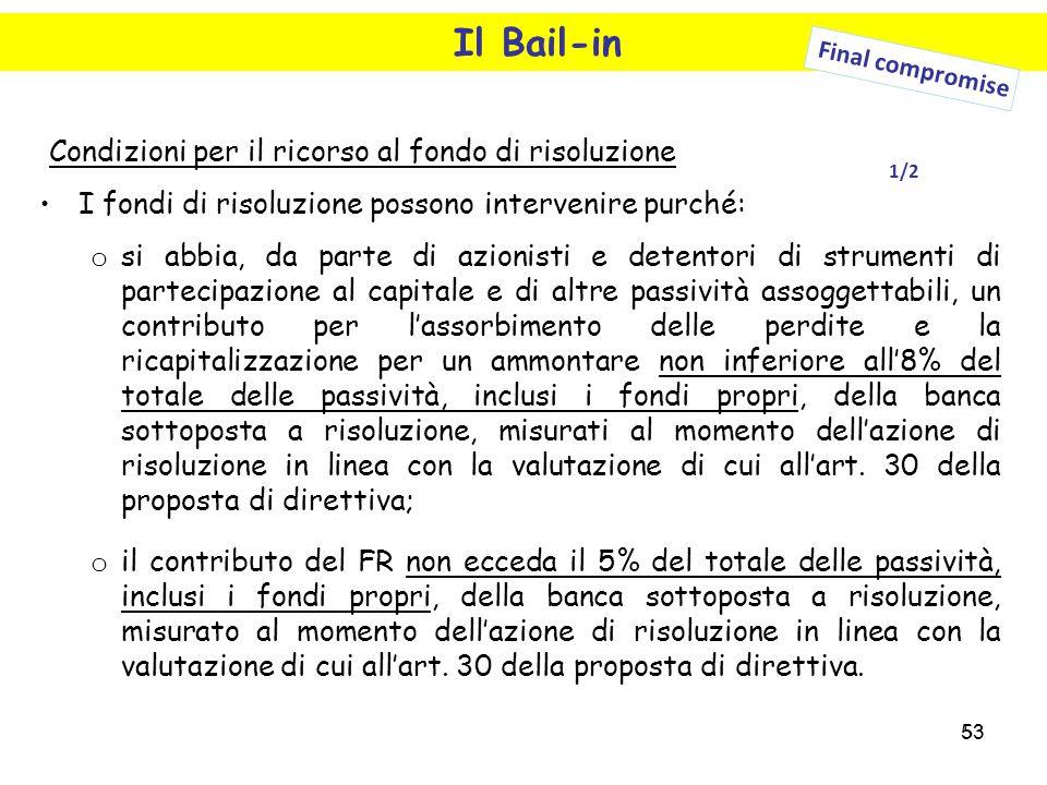 Il Bail-in Condizioni per il ricorso al fondo di risoluzione