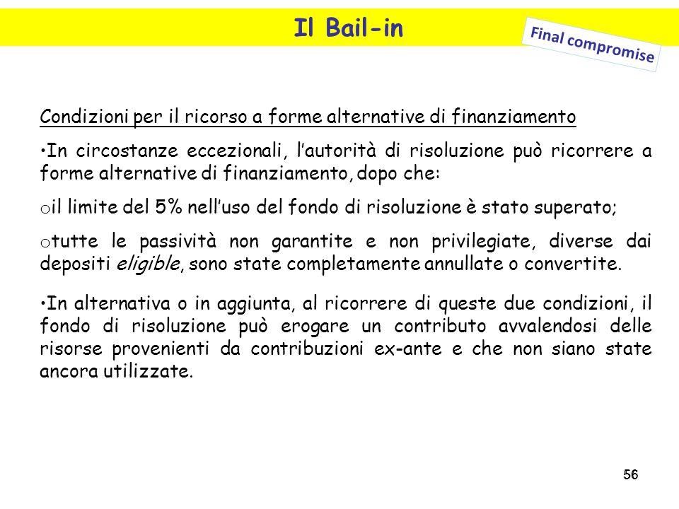 Il Bail-in Final compromise. Condizioni per il ricorso a forme alternative di finanziamento.