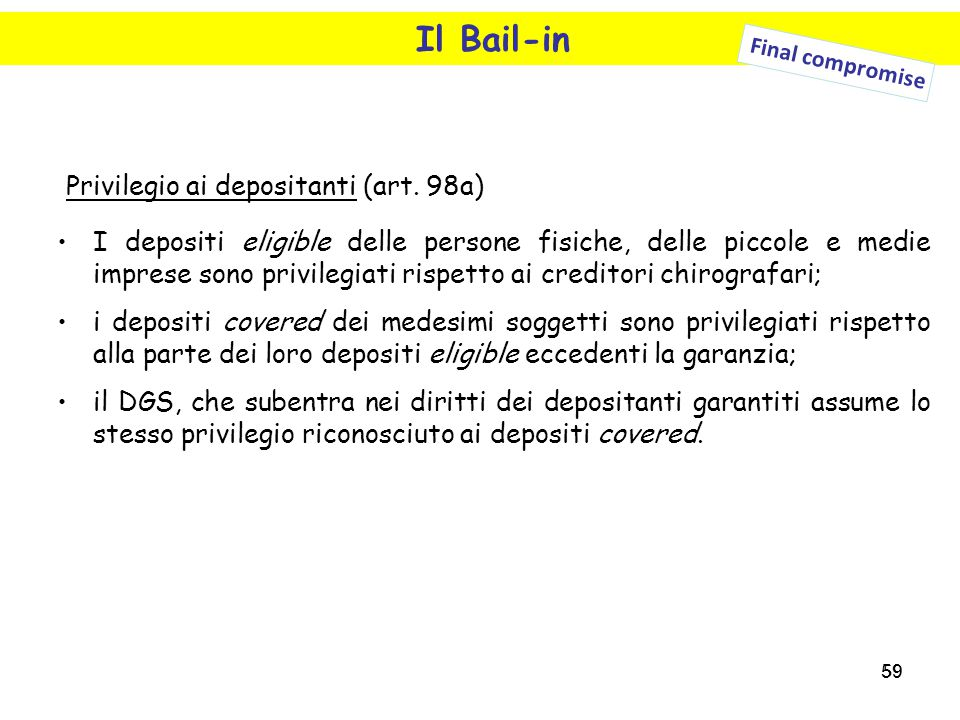 Il Bail-in Privilegio ai depositanti (art. 98a)