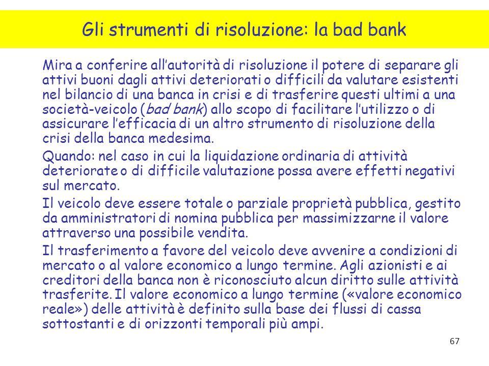 Gli strumenti di risoluzione: la bad bank