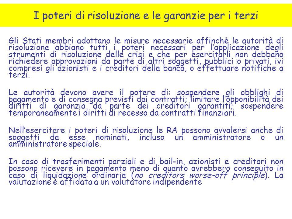 I poteri di risoluzione e le garanzie per i terzi