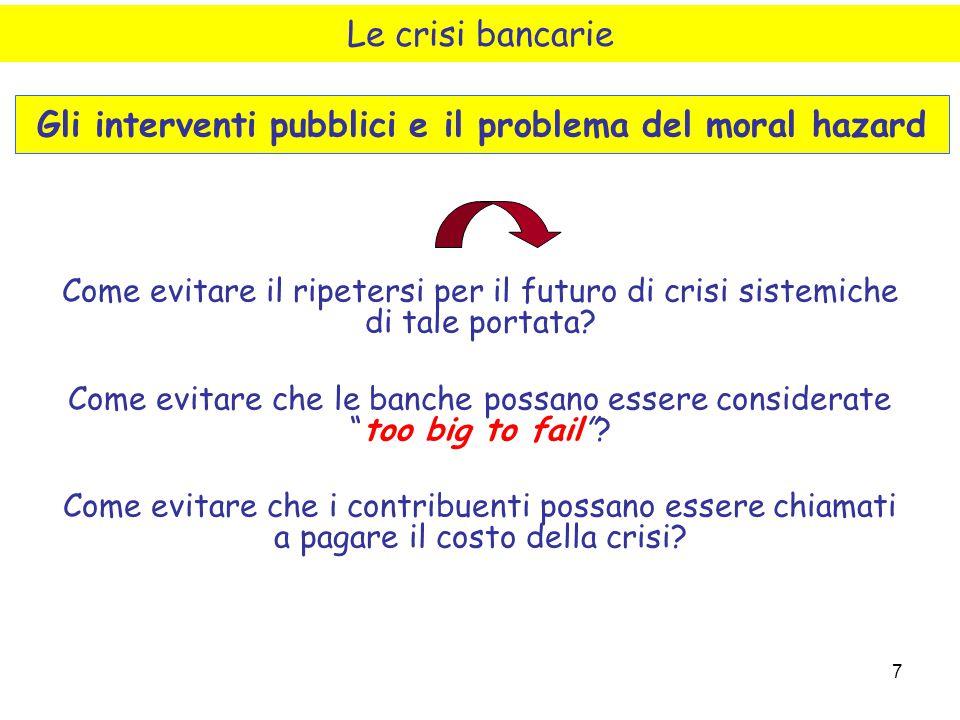 Gli interventi pubblici e il problema del moral hazard