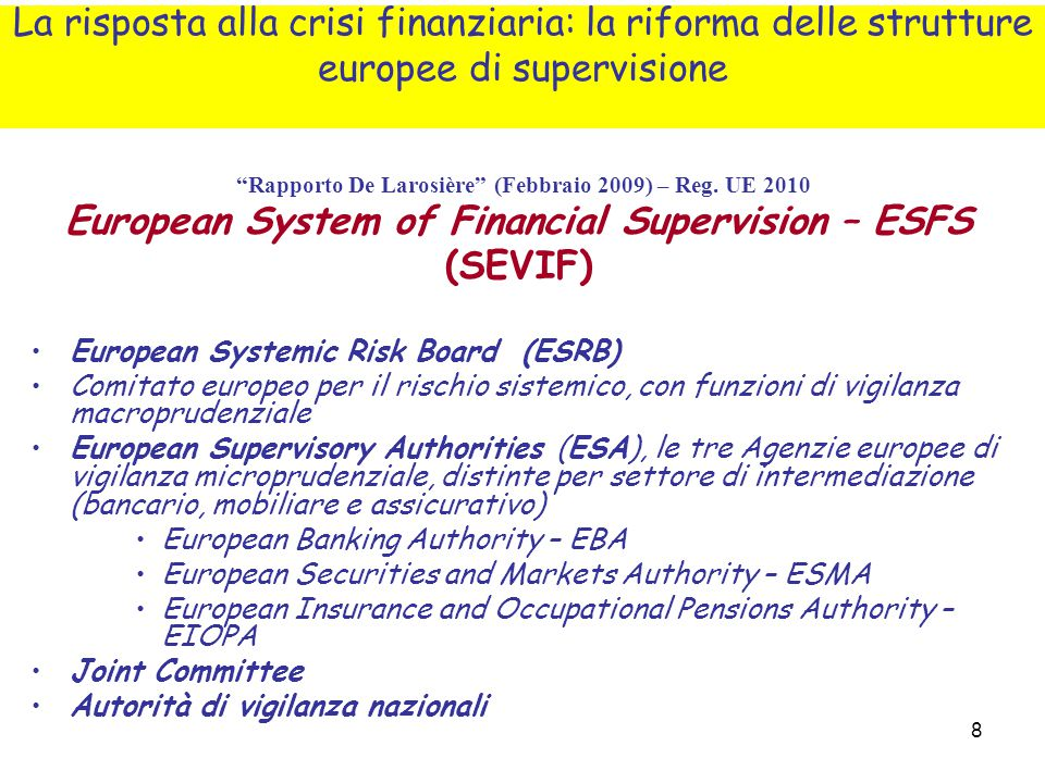 European System of Financial Supervision – ESFS (SEVIF)