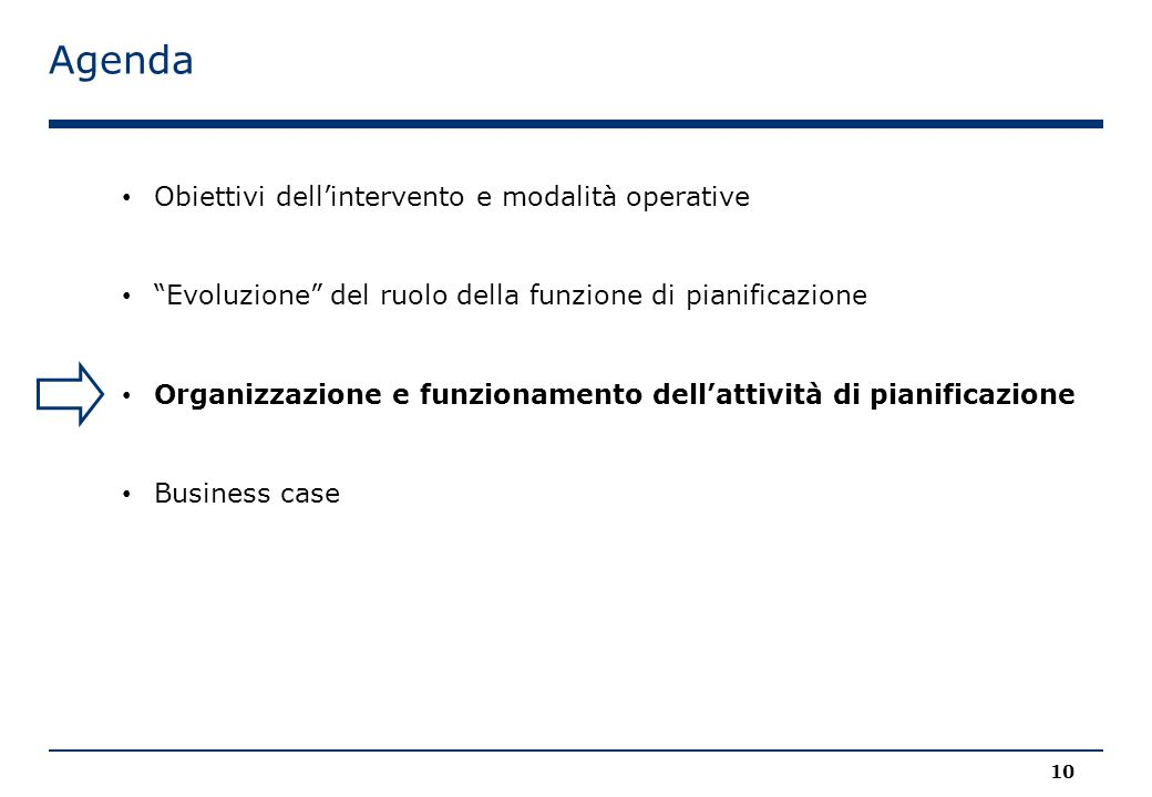 Agenda Obiettivi dell'intervento e modalità operative