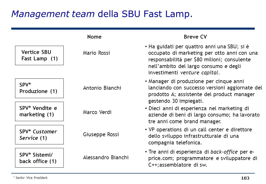 Management team della SBU Fast Lamp.