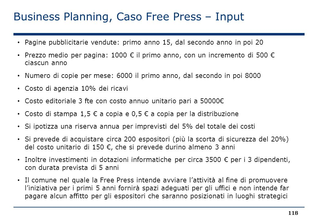 Business Planning, Caso Free Press – Input
