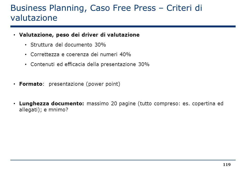 Business Planning, Caso Free Press – Criteri di valutazione