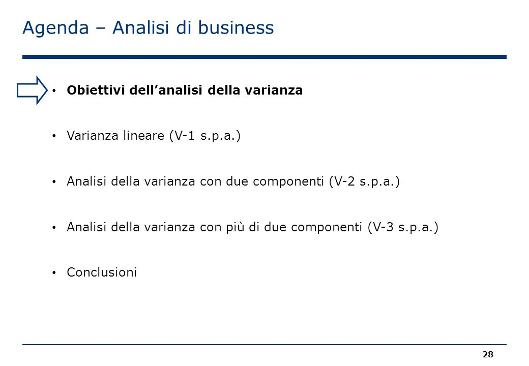 Agenda – Analisi di business