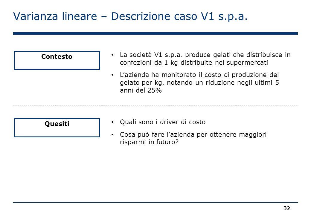 Varianza lineare – Descrizione caso V1 s.p.a.