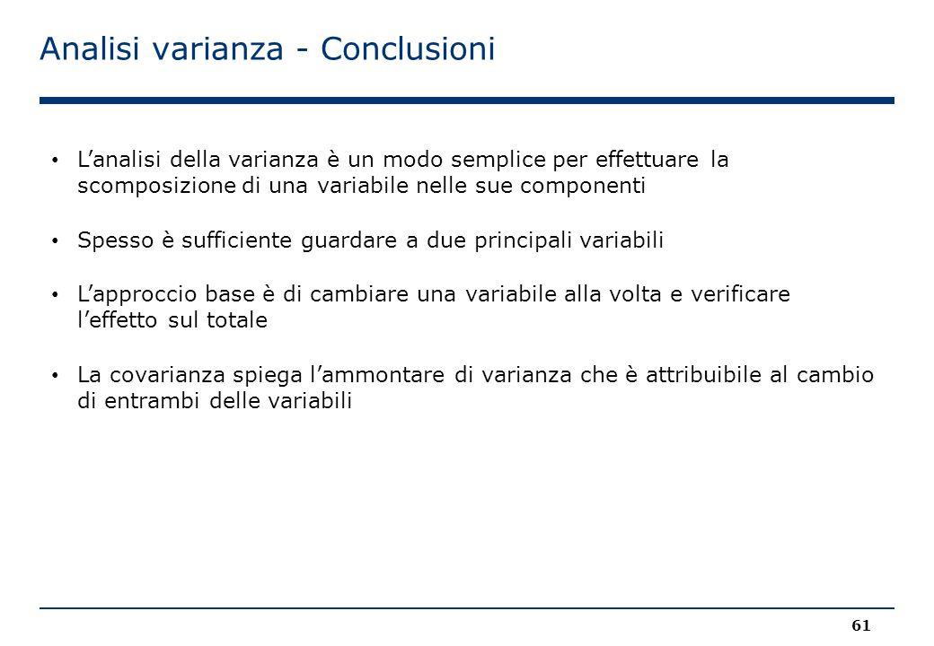 Analisi varianza - Conclusioni