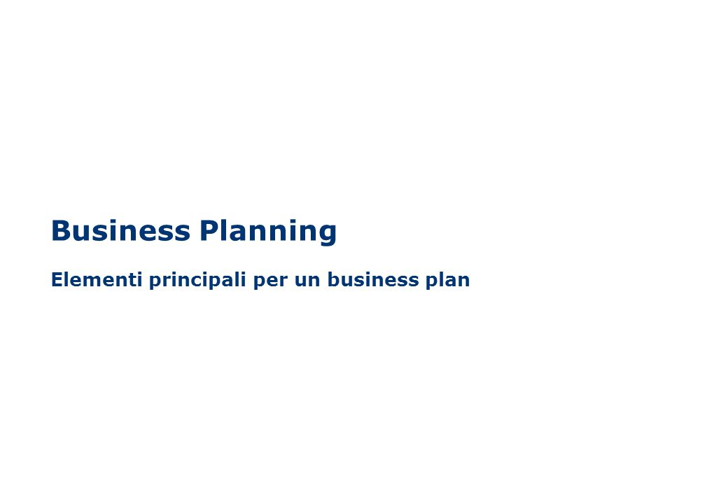 Business Planning Elementi principali per un business plan