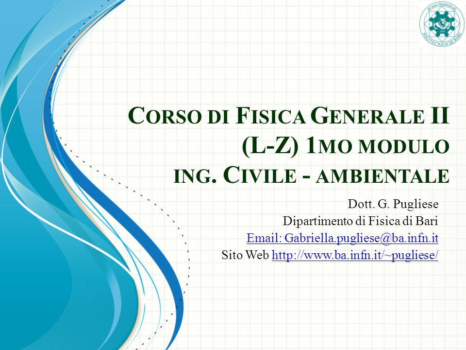 Corso di Fisica Generale II (L-Z) 1mo modulo ing. Civile - ambientale