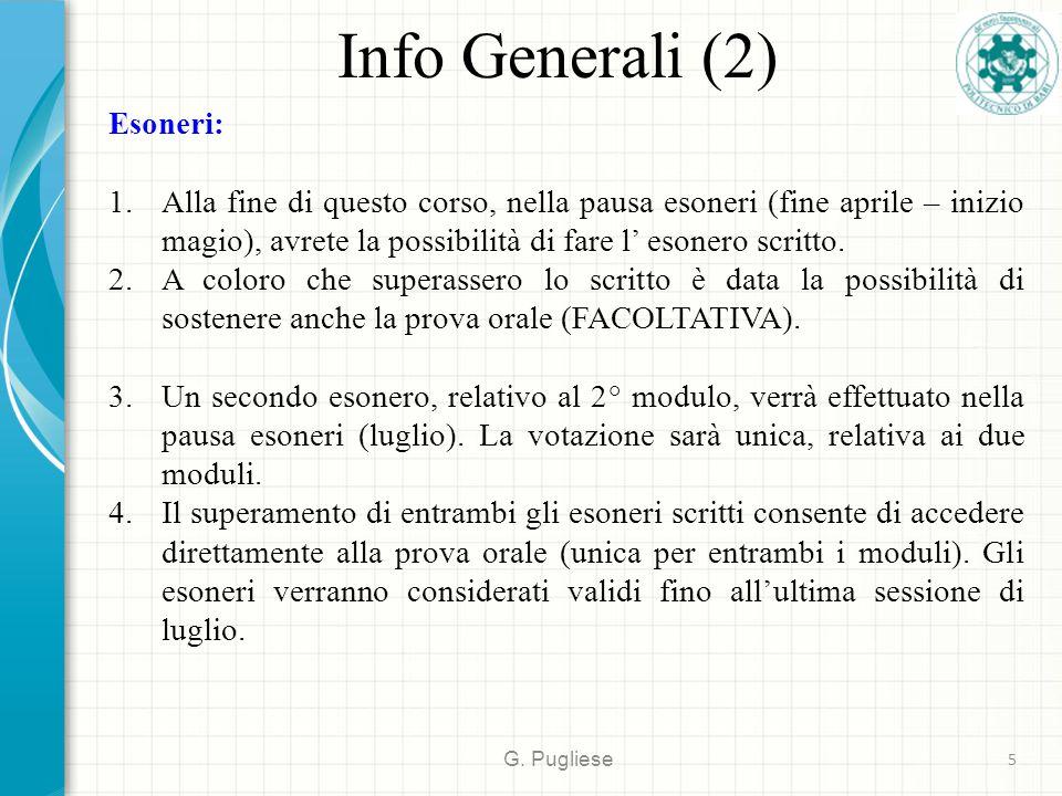 Info Generali (2) Esoneri:
