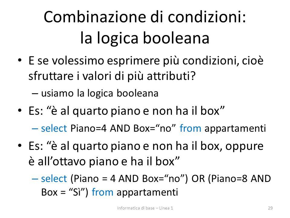 Combinazione di condizioni: la logica booleana