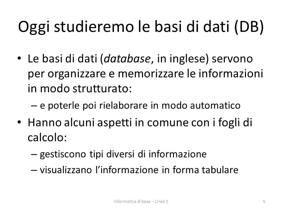 Oggi studieremo le basi di dati (DB)