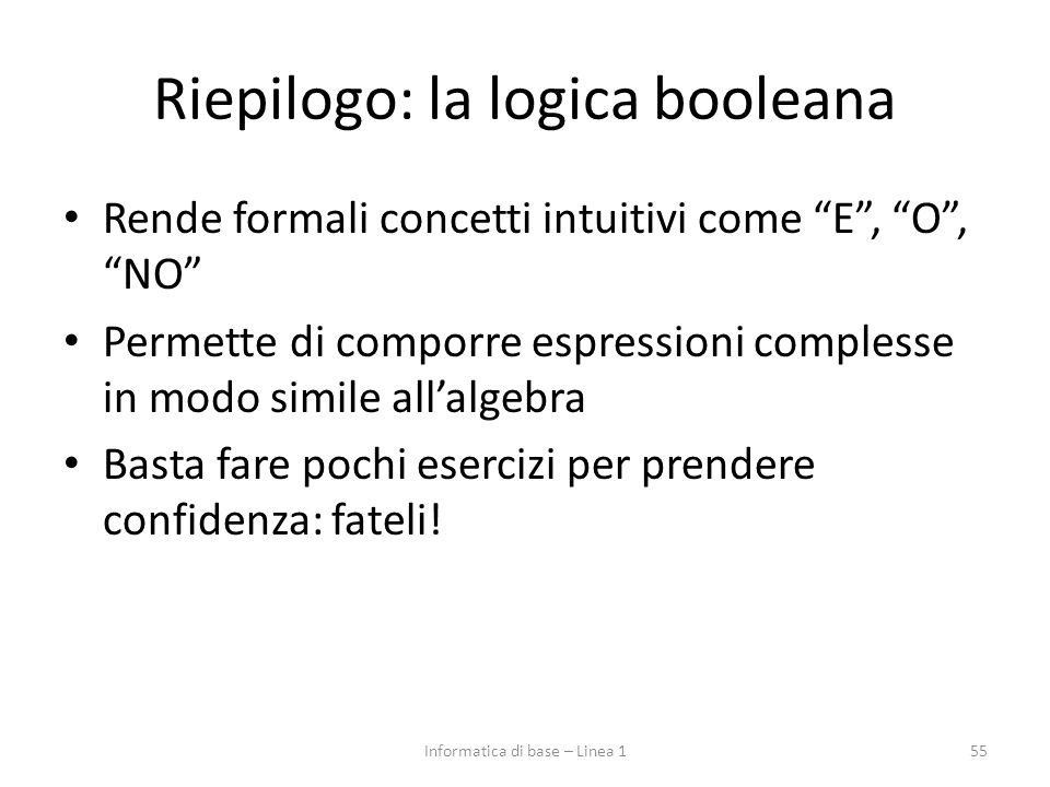 Riepilogo: la logica booleana