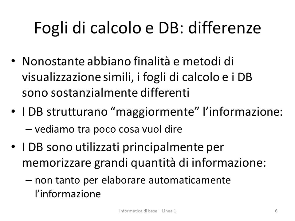 Fogli di calcolo e DB: differenze