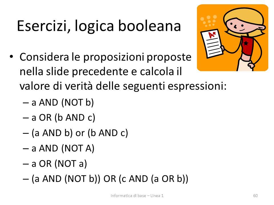 Esercizi, logica booleana