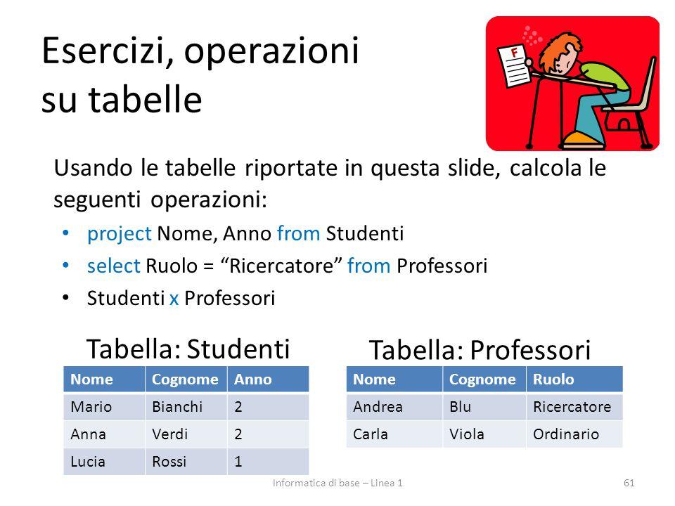 Esercizi, operazioni su tabelle