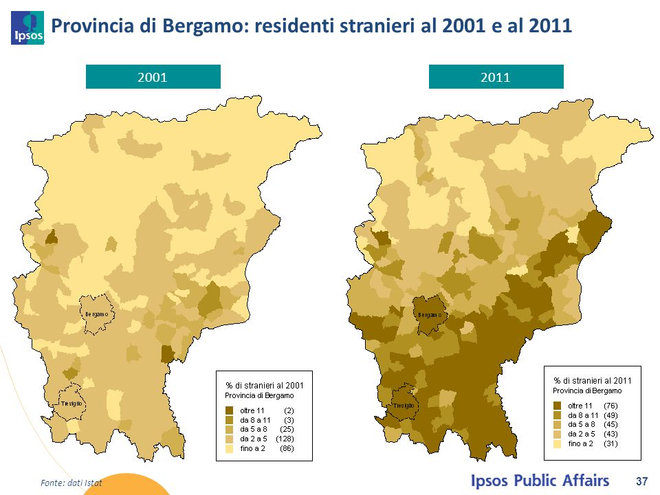 Provincia di Bergamo: residenti stranieri al 2001 e al 2011