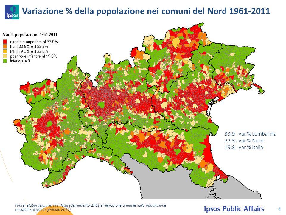 Variazione % della popolazione nei comuni del Nord 1961-2011