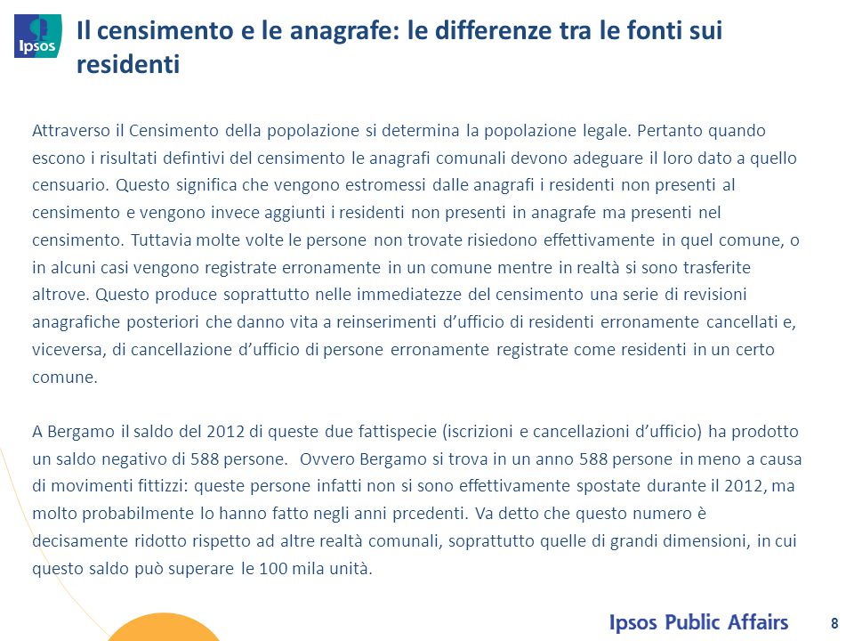 Il censimento e le anagrafe: le differenze tra le fonti sui residenti