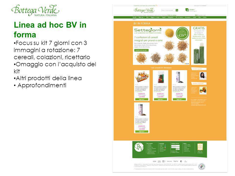 Linea ad hoc BV in forma Focus su kit 7 giorni con 3 immagini a rotazione: 7 cereali, colazioni, ricettario.