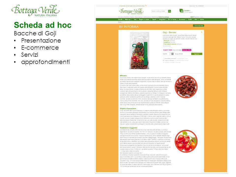 Scheda ad hoc Bacche di Goji Presentazione E-commerce Servizi