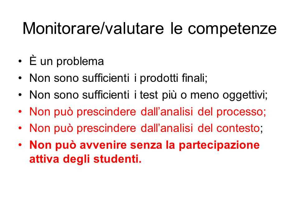 Monitorare/valutare le competenze