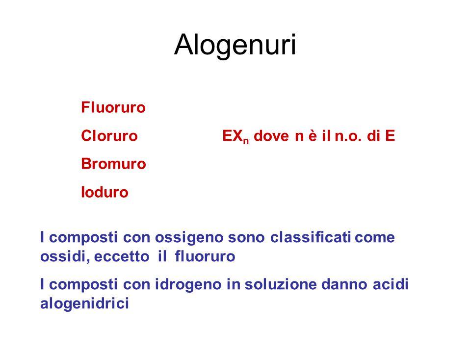 Alogenuri Fluoruro Cloruro EXn dove n è il n.o. di E Bromuro Ioduro