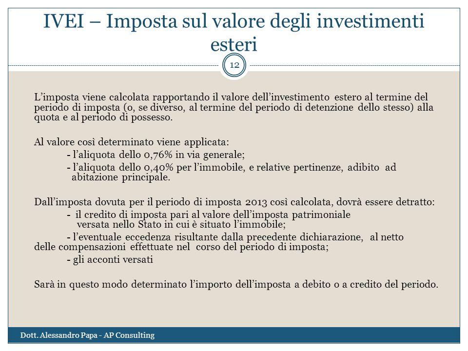 IVEI – Imposta sul valore degli investimenti esteri