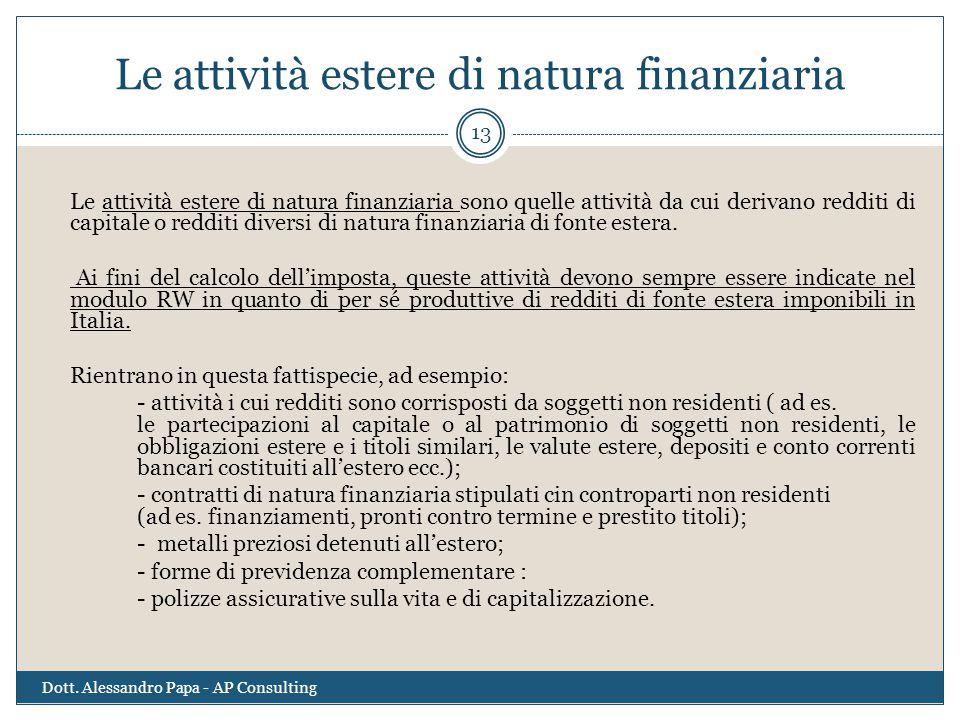 Le attività estere di natura finanziaria